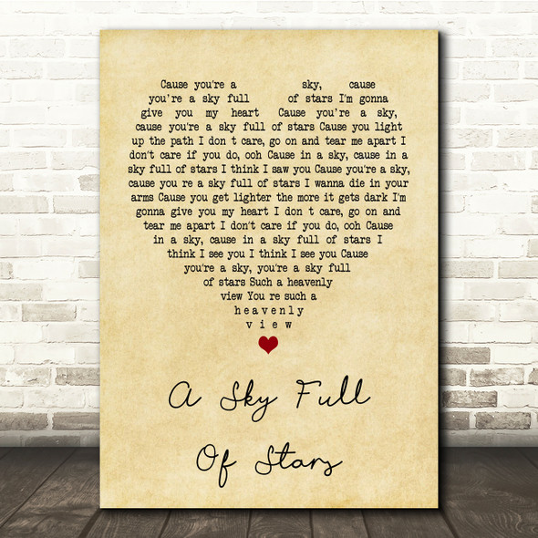 Coldplay A Sky Full Of Stars Vintage Heart Song Lyric Quote Print