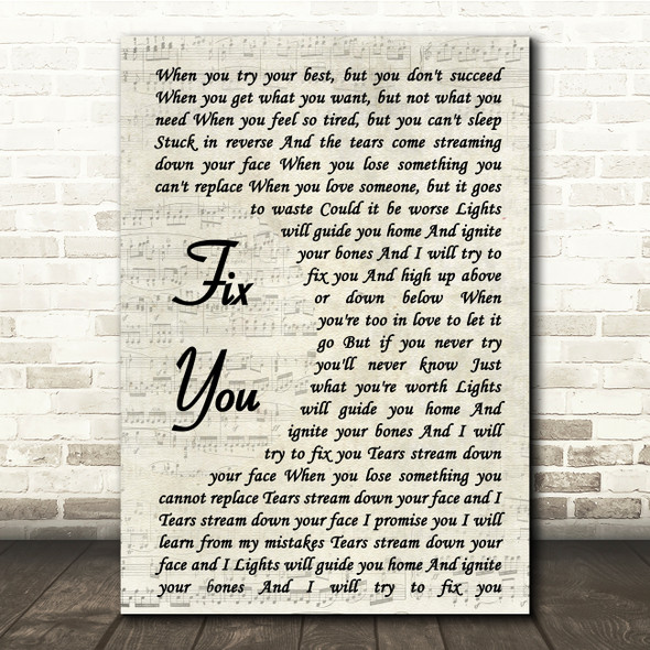 Coldplay Fix You Vintage Script Song Lyric Quote Print