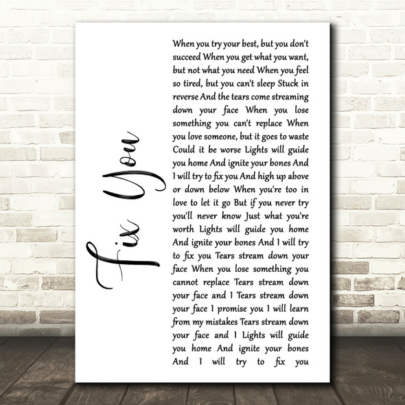 Coldplay Fix You White Script Song Lyric Quote Print