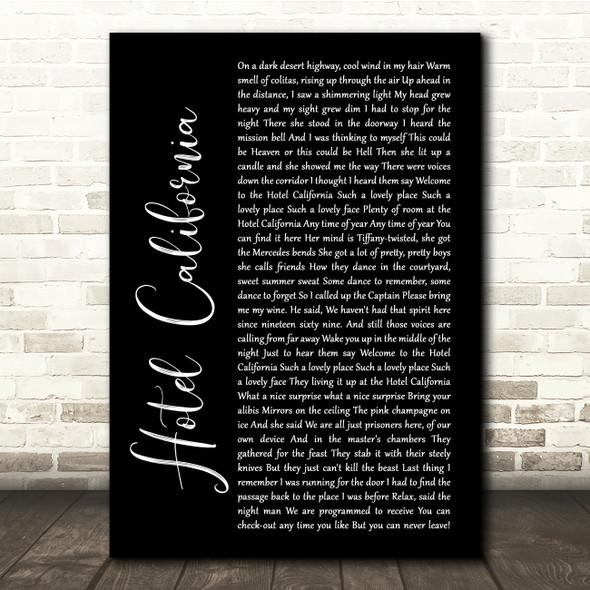Eagles Hotel California Black Script Song Lyric Quote Print