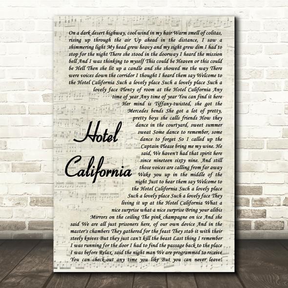 Eagles Hotel California Vintage Script Song Lyric Quote Print