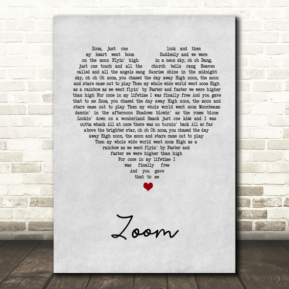 Fat Larry's Band Zoom Grey Heart Song Lyric Quote Print