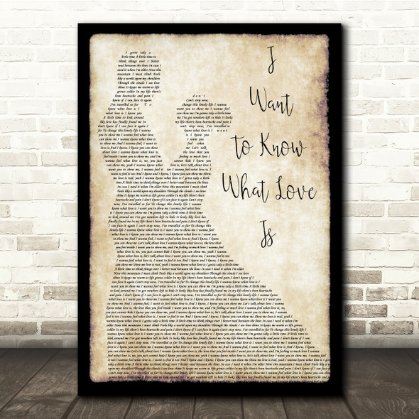 Foreigner I Want To Know What Love Is Man Lady Dancing Song Lyric Quote Print