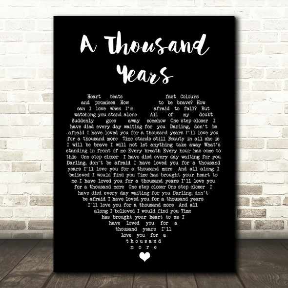 A Thousand Years Christina Perri Black Heart Quote Song Lyric Print
