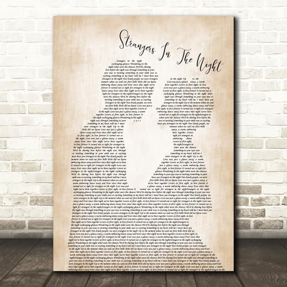 Frank Sinatra Strangers In The Night Man Lady Bride Groom Song Lyric Print