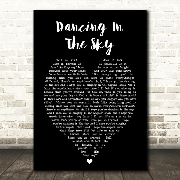 Dani And Lizzy Dancing In The Sky Black Heart Song Lyric Quote Print