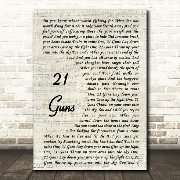 Green Day 21 Guns Vintage Script Song Lyric Quote Print