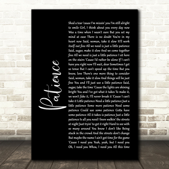 Guns N' Roses Patience Black Script Song Lyric Quote Print