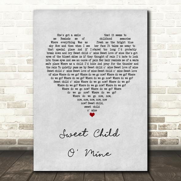 Guns N Roses Sweet Child O' Mine Grey Heart Song Lyric Quote Print