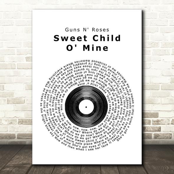 Guns N' Roses Sweet Child O' Mine Vinyl Record Song Lyric Quote Print