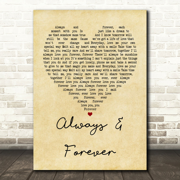 Heatwave Always And Forever Vintage Heart Song Lyric Quote Print
