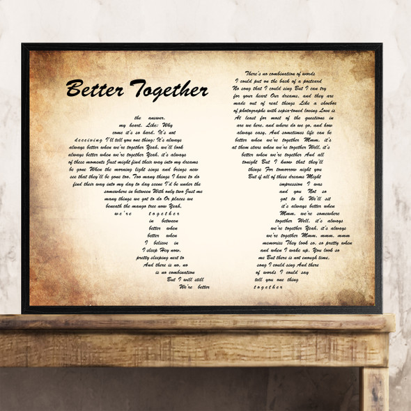 Jack Johnson Better Together Man Lady Couple Song Lyric Quote Print