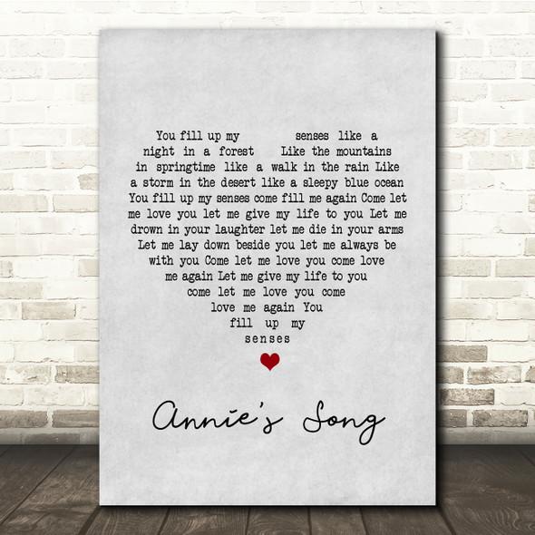 John Denver Annie's Song Grey Heart Song Lyric Quote Print