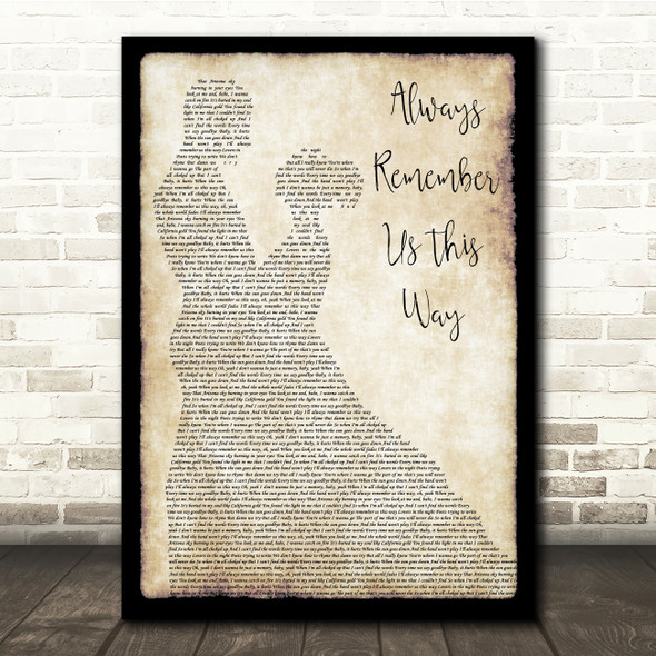Lady Gaga Always Remember Us This Way Man Lady Dancing Song Lyric Quote Print