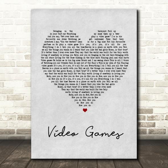 Lana Del Rey Video Games Grey Heart Song Lyric Quote Print