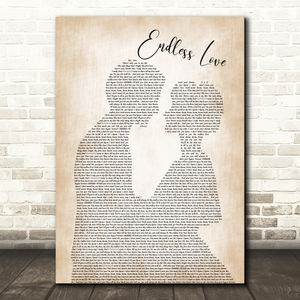 Lionel Richie & Diana Ross Endless Love Man Lady Bride Groom Song Lyric Print