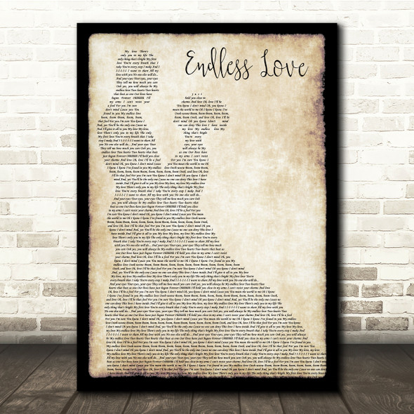 Lionel Richie & Diana Ross Endless Love Man Lady Dancing Song Lyric Quote Print