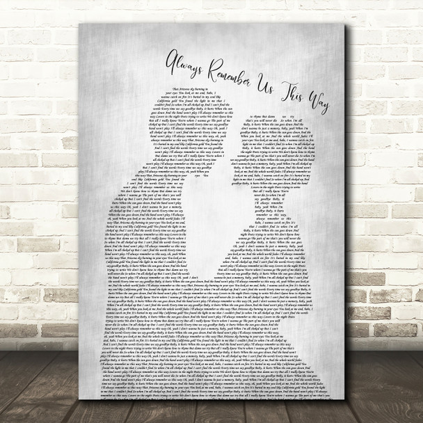 Lady Gaga Always Remember Us This Way Man Lady Bride Groom Grey Song Lyric Print