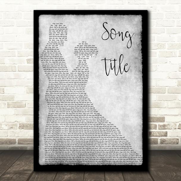 Any Song Lyrics Custom Grey Dancing Couple Personalised Lyrics Print