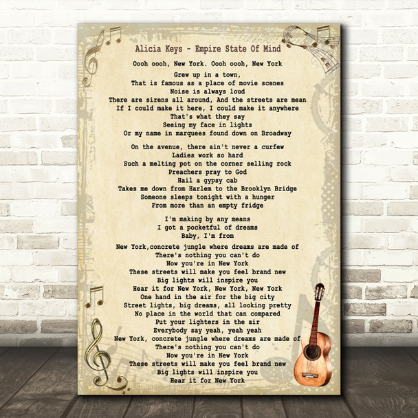Alicia Keys Empire State Of Mind Song Lyric Quote Print