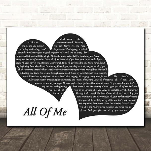 John Legend All Of Me Landscape Black & White Two Hearts Song Lyric Print