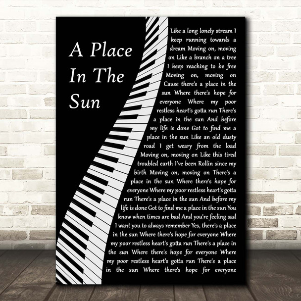 Stevie Wonder A Place In The Sun Piano Song Lyric Print