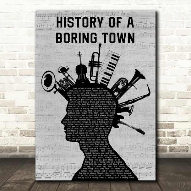 Less Than Jake History Of A Boring Town Musical Instrument Mohawk Wall Art Gift Song Lyric Print