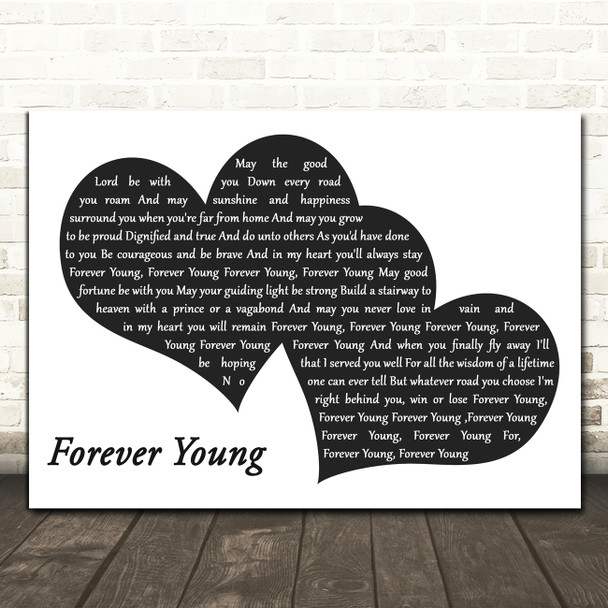 Rod Stewart Forever Young Landscape Black & White Two Hearts Song Lyric Print