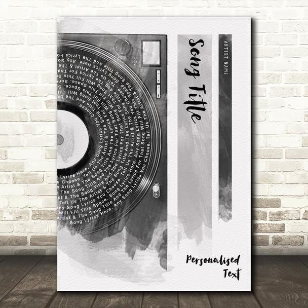 Vinyl Record Half Lyrics Black White Grey Any Song Lyric Personalised Print