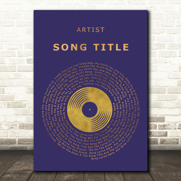 Blue & Copper Gold Vinyl Record Any Song Lyric Personalised Music Wall Art Print