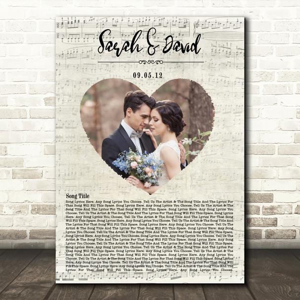 Heart Wedding Photo First Dance Music Script Names Date Any Song Lyric Art Print