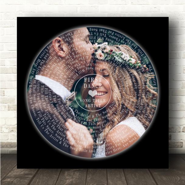 Square Vinyl Record Wedding Photo Black Any Song Lyric Wall Art Print