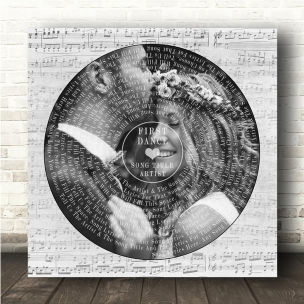 Square Vinyl Record Wedding Photo Grey Script Any Song Lyric Wall Art Print
