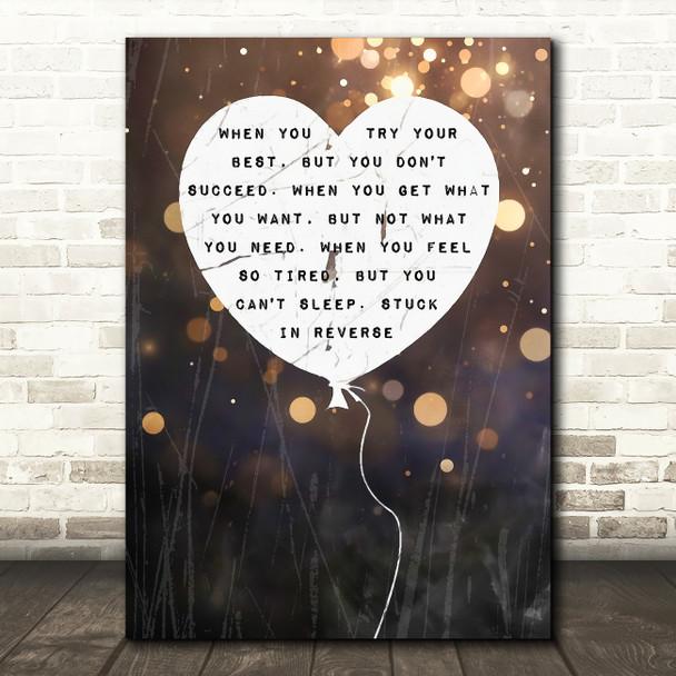 Coldplay Fix You Heart Balloon Music Song Lyric Wall Art Print