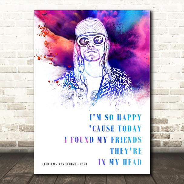 Nirvana Lithium Colour Splash Music Song Lyric Wall Art Print