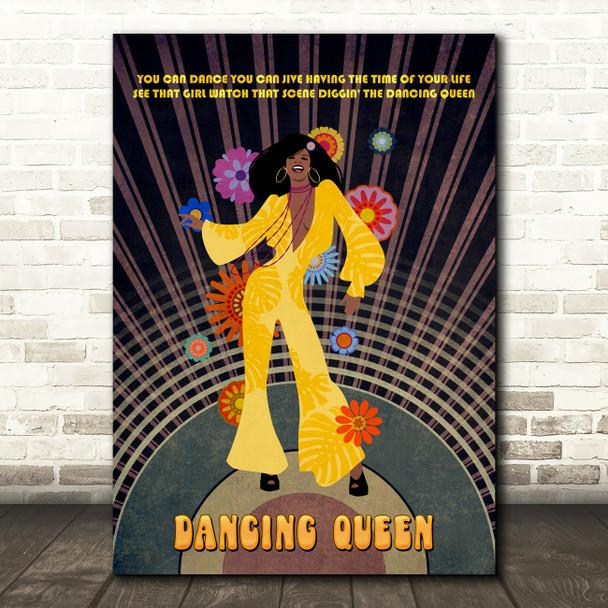Abba Dancing Queen Dark Skin Music Song Lyric Wall Art Print