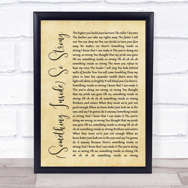 Labi Siffre (Something Inside) So Strong Rustic Script Song Lyric Framed Print