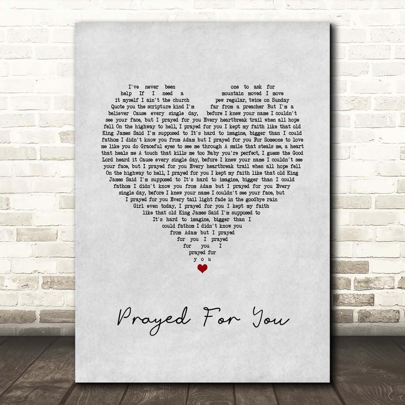 Matt Stell Prayed For You Grey Heart Song Lyric Print