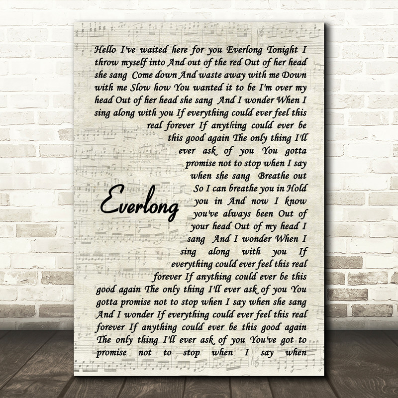 Everlong Foo Fighters Song Lyric Vintage Script Quote Print