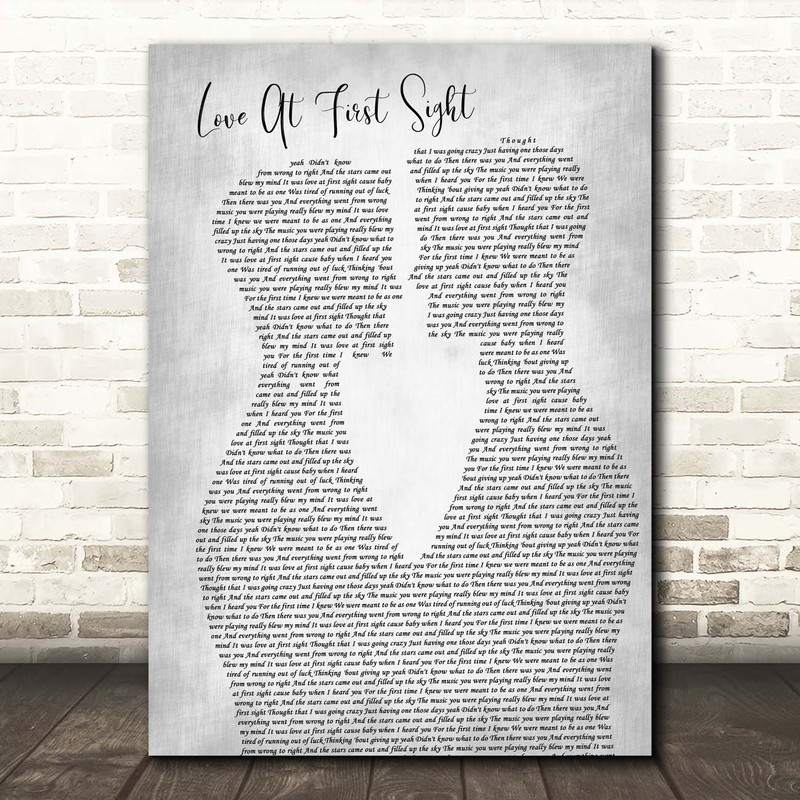 Kylie Minogue Love At First Sight Two Men Gay Couple Wedding Grey Song Lyric Print