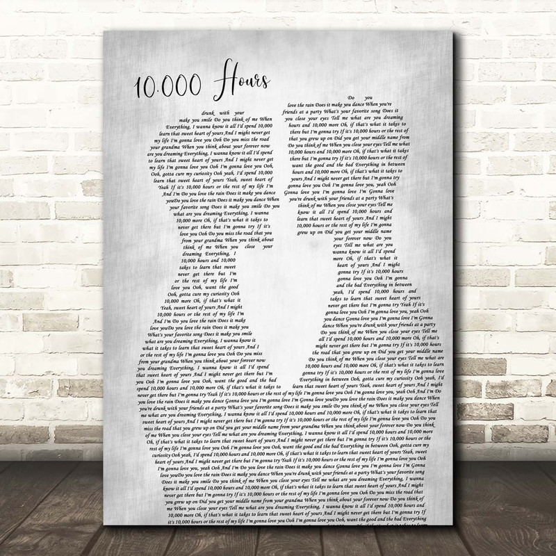 Dan + Shay & Justin Bieber 10,000 Hours Two Men Gay Couple Wedding Grey Song Lyric Print