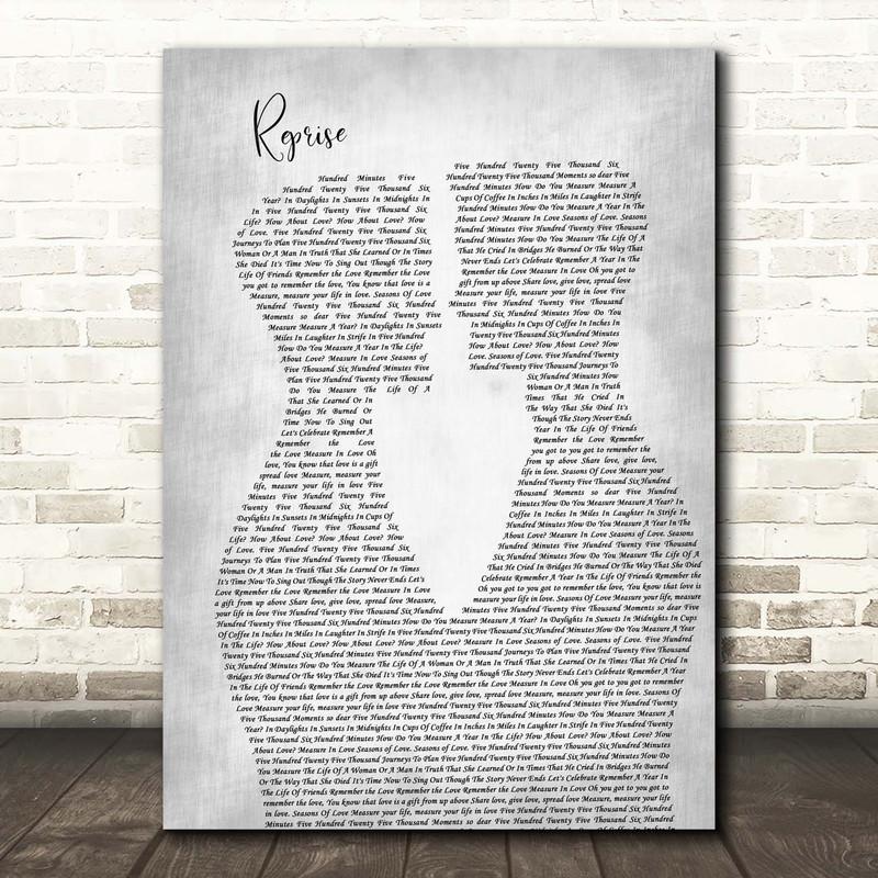 Jonathan Larson Reprise Two Men Gay Couple Wedding Grey Song Lyric Print