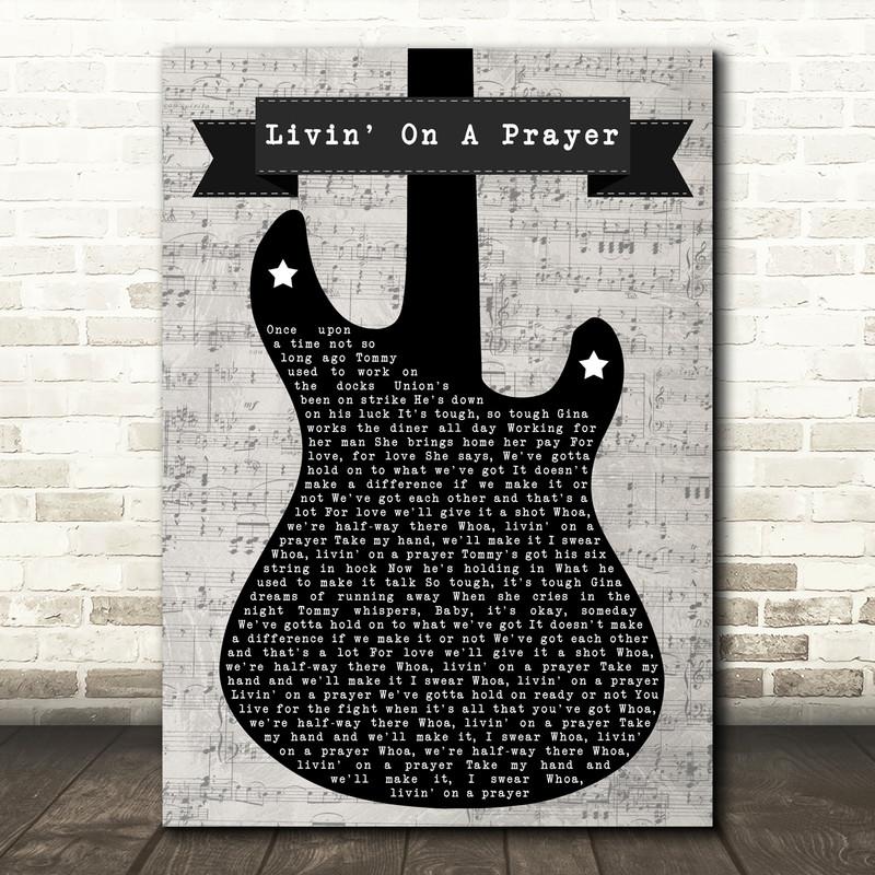 Bon Jovi Livin' On A Prayer Electric Guitar Music Script Song Lyric Music Art Print