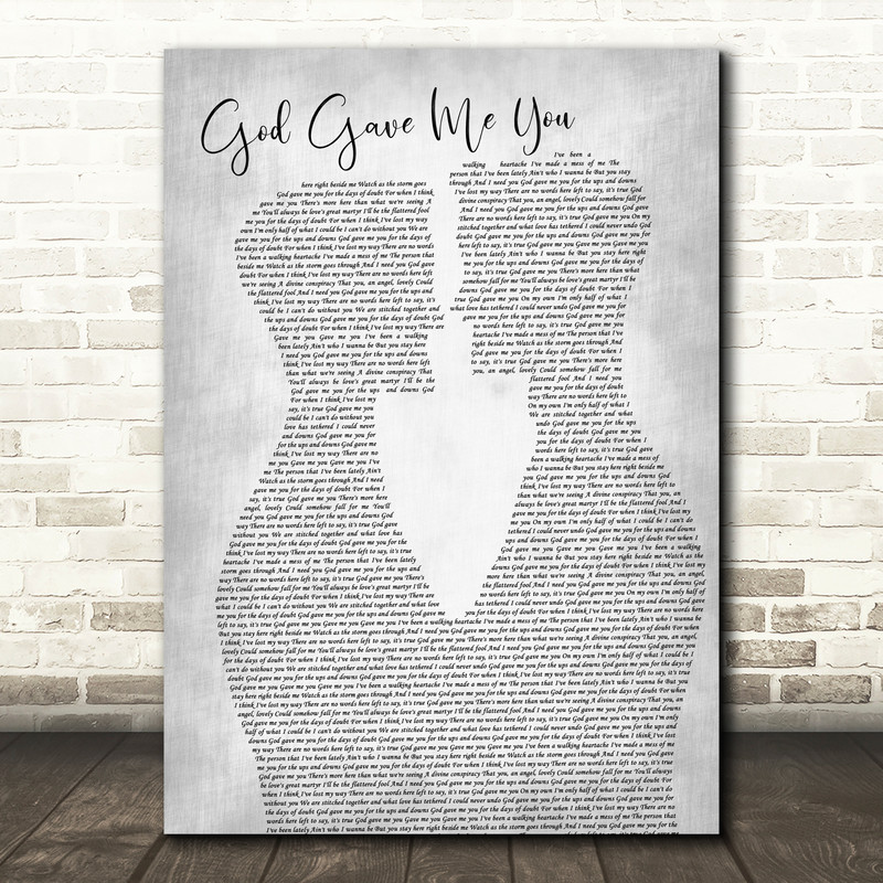 Dave Barnes God Gave Me You Two Men Gay Couple Wedding Grey Song Lyric Music Art Print