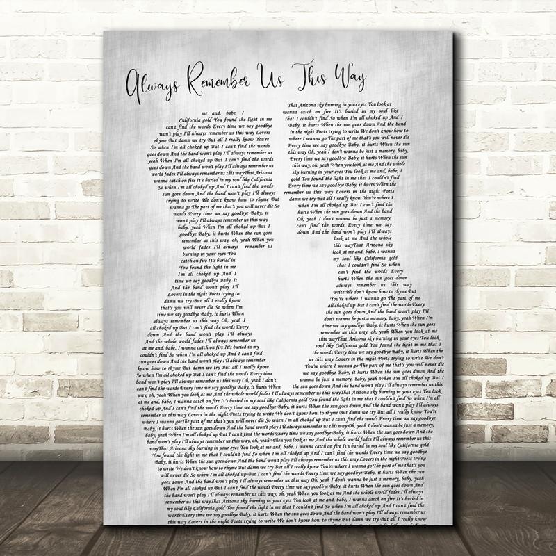 Lady Gaga Always Remember Us This Way Two Men Gay Couple Wedding Grey Song Lyric Art Print