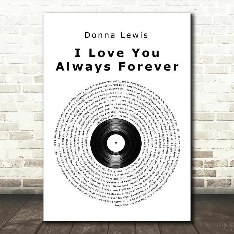 Donna Lewis I Love You Always Forever Vinyl Record Song Lyric Art Print