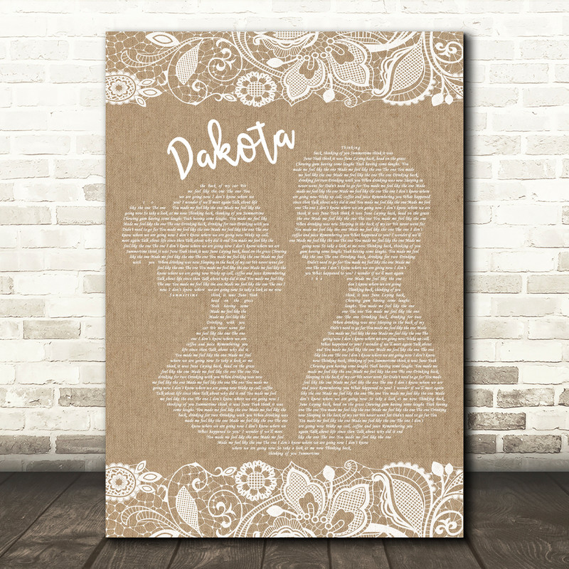 Stereophonics Dakota Burlap & Lace Song Lyric Quote Print