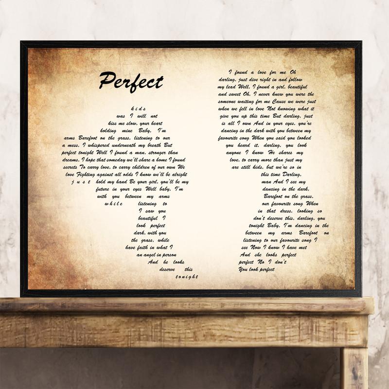 Ed Sheeran & Beyonce Perfect Man Lady Couple Song Lyric Quote Print