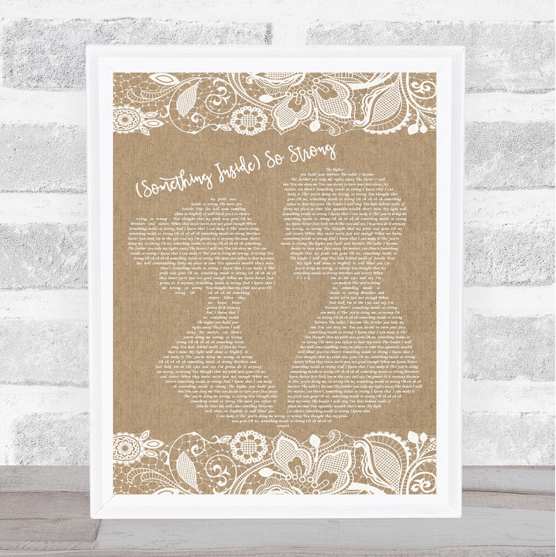 Labi Siffre (Something Inside) So Strong Burlap & Lace Song Lyric Quote Print