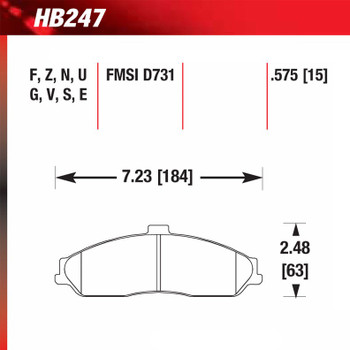 Hawk HB247 Corvette front brake pads specifications